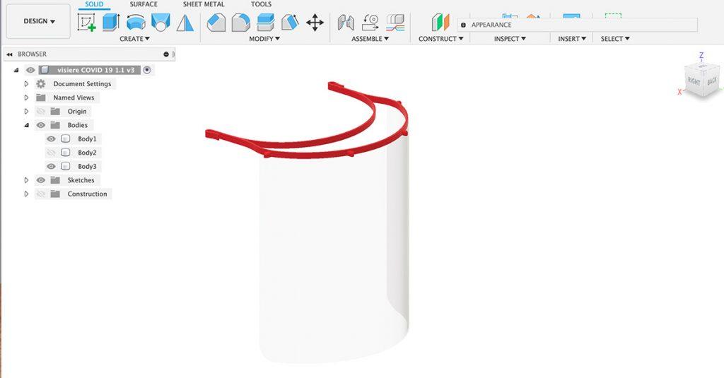Capture d'écran d'un fichier en impression 3D d'une visière de protection