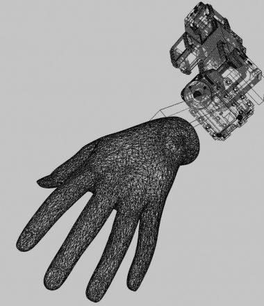 Dessin technique d'une main articulé