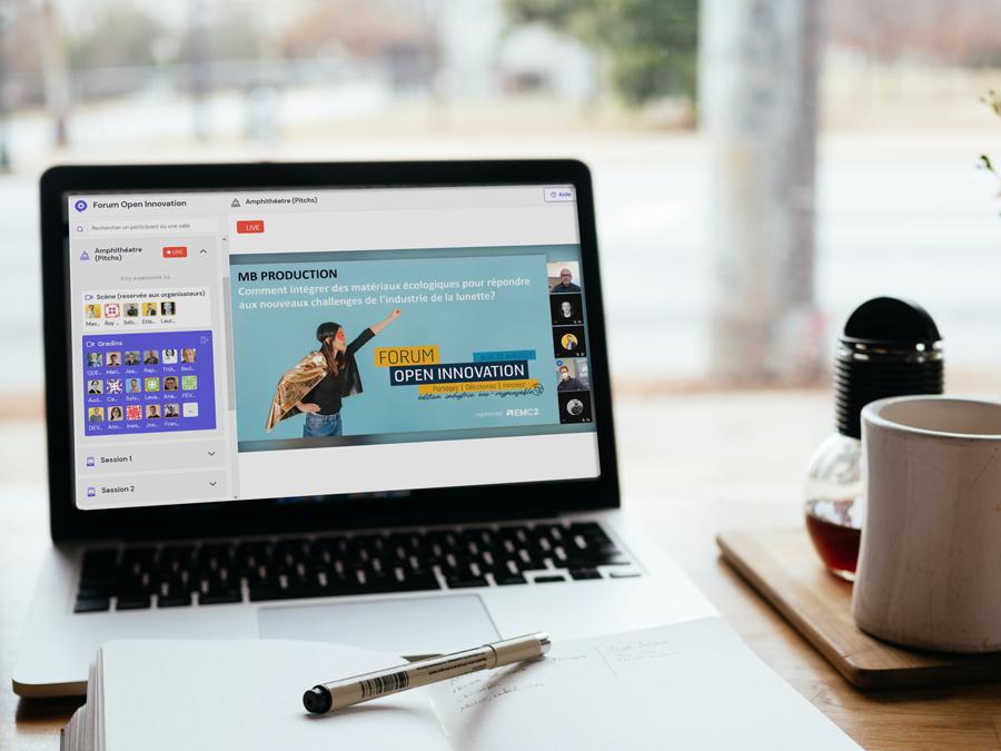 Capture d'écran de l'événement virtuel Forum Open Innovation édition industrie éco-responsable